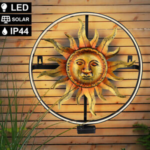LED Garten Strahler Design Deko Leuchte rund Sonnen Motiv Außen Wand Lampe SOLAR