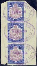 Nyasaland 1913 KGV 10P purple & royal blue strip of 3, nick in scroll variety