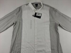 NEW Armani Exchange Men XL White Grey 2-Tone Dress Shirt Long Sleeve Outdoor N2
