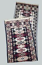 """Turkish Oriental Rug Kilim Runner 100x400 cm / 3'3""""x13'2"""" Burgundy/ Black/ Beige"""