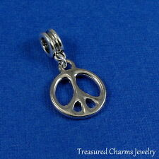 Silver Peace Sign Symbol Dangle Bead Charm fits European Bracelets NEW