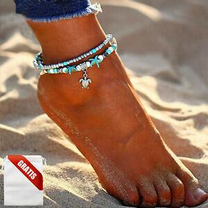 Fußkettchen Damen Türkis Silber Schildkröte Seestern Fußkette Fusskette Frauen
