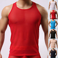 HOT Sheer Sexy Mens Mesh Adult Tops T-Shirt See-through Undershirt Size S M L