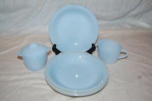 Anchor Hocking Fire KingAzurite Swirl Blue Cereal Bowl, Sugar & Creamer Vintage