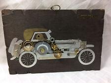 Vintage Colombian Wood Metal Hanging Wall Plaque 3D Mercedes 1922 Art