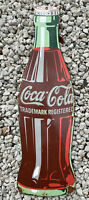 LARGE Coca Cola soda pop Vintage Porcelain Metal Sign Gas Station Coke Drink