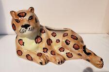 Vintage Porcelain Animal Figurine Planter Leopard Cheetah