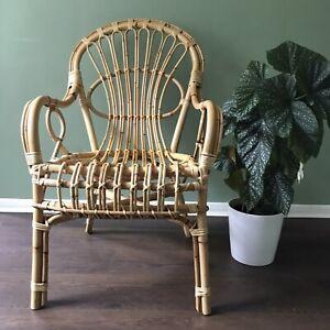 Vintage Mid Century Bamboo Arm Chair Wicker Boho Tiki Cane Retro