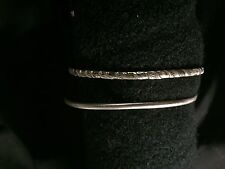 "STERLING SILVER BANGLE BRACELET DUO  by Danecraft:  One ""brushed"", One ""striped"""