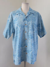 Tommy Bahama Baby Blue Floral Paisley Silk Button Front Hawaiian Camp Shirt Sz S