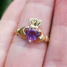 14K MARCUS Yellow Plumb Gold Claddagh Ring with Amethyst Size 6