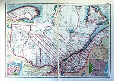 Vintage Antique Original 1920 Print Map Of Quebec Plus Montreal City Plan