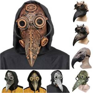 Steampunk Beak Plague Doctor Mask Party Halloween Cosplay Costume Fancy Props