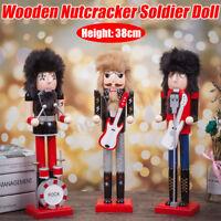 Funny Wooden Nutcracker Soldier Doll Christmas Handcraft Vintage Decor Kid