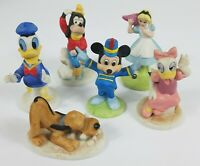 Disney Collection Porcelain Figurines 1988 Set Of 6 VGUC Mickey Pluto Goofy Duck