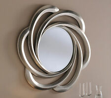 "Turin Large Round Wall Mirror Champagne Silver Swirl Frame Art Deco 31"" 79cm"