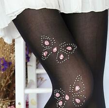 Sexy Muster Strumpfhose mit Zirkonia Schmuck verziert Rosa Spitze Strass XS S M