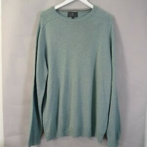 M&S Mens Jumper Size XL Extra Fine lambswool Mint Green Crew Neck Pullover