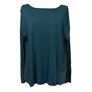 ONE SIZE OS - MICHAEL STARS  Turquoise Blue Supima Cotton Blend Long Sleeve Top
