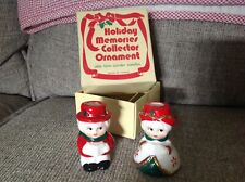 Christmas Candle Holders Set 2 Man Woman Vintage Old Time Carolers Taiwan Gold.