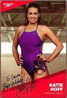 "Katie Hoff, Olympic Swimmer, Super Signed 6"" x 9"" Photo, COA, UACC RD 036"