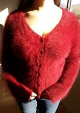73% ANGORA Sweater! Furry Fuzzy Soft! Red Between 70% & 80% Cardigan!