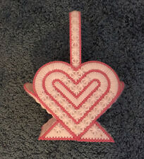 Handmade  Heart Shaped Pink and White Bath Cloth Holder Lined 10x8x4