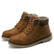 Winter Genuine Leather Ankle Snow Men Boots with Fur Plush Warm Casual Work Boot
