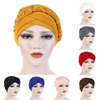 Eg _ Vintage Turbante Cappello Trecce Perline Berretto Copricapo Chemio Scialle