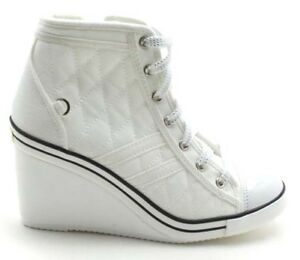 New Women's Casual Canvas High Top Wedge High Heel Quilted Lace Up Sneaker Shoes