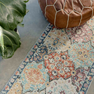 Colourful Floral Geometric Runner Rugs for Living Room Large Faded Muted Mat NEW