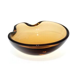 Seguso Vetri d'Arte - Flavio Poli - Crimped Edge Amber Glass Bowl - 1950s Murano