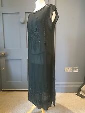 Authentique véritable de perles vintage en soie 1920 S Clapet robe Art Deco Fashion