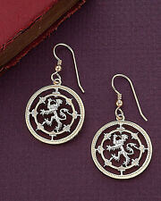 """Scottish Lion Earrings,Hand Cut Scottish One Pound Coins, 7/8"""" in Dia. # 577E"""