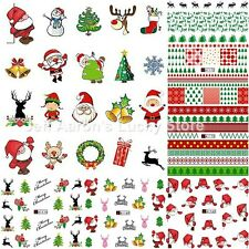 12 sheets water transfer nail art decoration stickers Christmas tree snowman lot