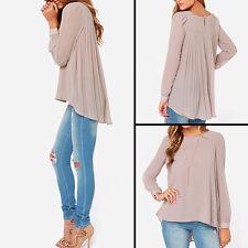 Womens' Casual Chiffon Loose Long Sleeve T-Shirt Blouse Crewneck Shirt Tops CDO
