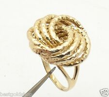 Size 8 Bold Diamond Cut Rosetta Love Knot Ring Real Solid 14K Yellow Gold