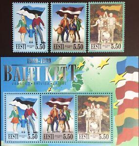 Estonia 1999 Baltic Chain Set & Minisheet MNH