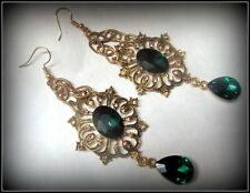 and Goldtone Dangle Earrings! A28 Statement Vintage Big, Long Green