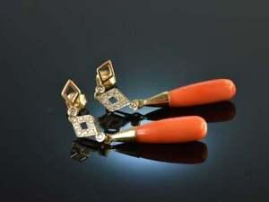 Coral & Diamond Everyday Wear Long Dangle Drop Earrings in 18K Yellow Gold Over