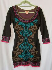 Flying Tomato Anthropology Women's Body Con Knit Sweater Dress Size XS Brown