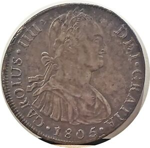 PERU LIMA 1805 SPANISH COLONIAL 8 REALES ~ NICE OLD TONING ABOUT UNCIRCULATED