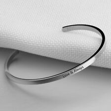 Stainless Steel Custom ID Name Bangle Engrave Bracelets Women Bangles