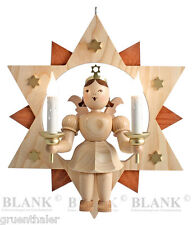 Kurzrock-Engel im Stern natur Großfigur 29cm Kerzen elektrisch Blank Erzgebirge