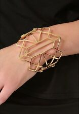 New Juicy Couture Fashion Hinge Snap Princess Geo Cuff  Bracelet Gold Tone