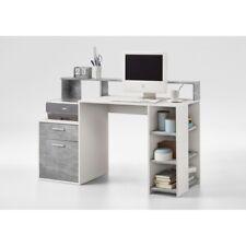 Beton grau Nb. / weiß  Schreibtisch PC - Tisch Bürotisch Arbeitstisch 138 cm