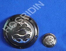 black flame derby timer cover Harley dyna softail touring fatboy electra glide