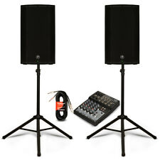 """Mackie THUMP12A Active 12"""" Speakers 8 Channel Mixer and Stands DJ PA Set 2600W"""