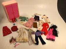 Vintage Matel Barbie Doll 70's Clothing Outfits Accessory with Closet & Hangers