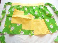 Apron Vintage 1970's Half Apron Handmade Cotton Mod Green Floral Print